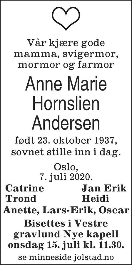 Anne Marie Hornslien Andersen Dødsannonse