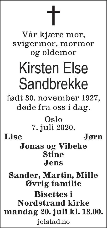 Kirsten Else Sandbrekke Dødsannonse
