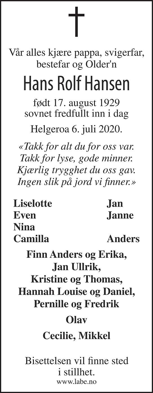Hans Rolf Hansen Dødsannonse