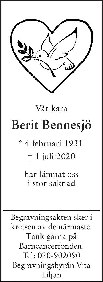 Berit  Bennesjö Death notice