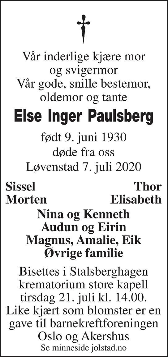 Else Inger Paulsberg Dødsannonse