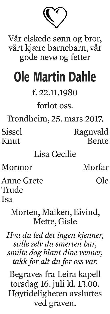 Ole Martin Dahle Dødsannonse