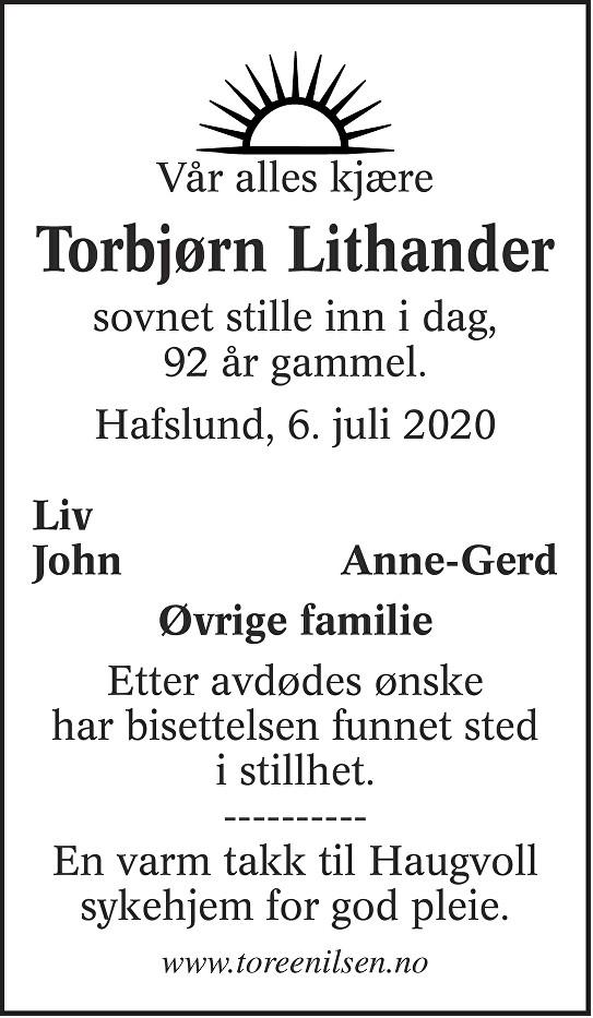 Torbjørn Litander Dødsannonse