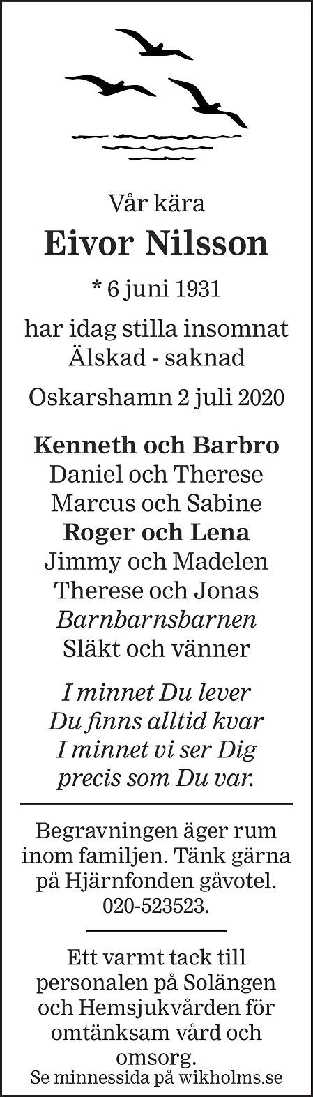 Eivor Nilsson Death notice