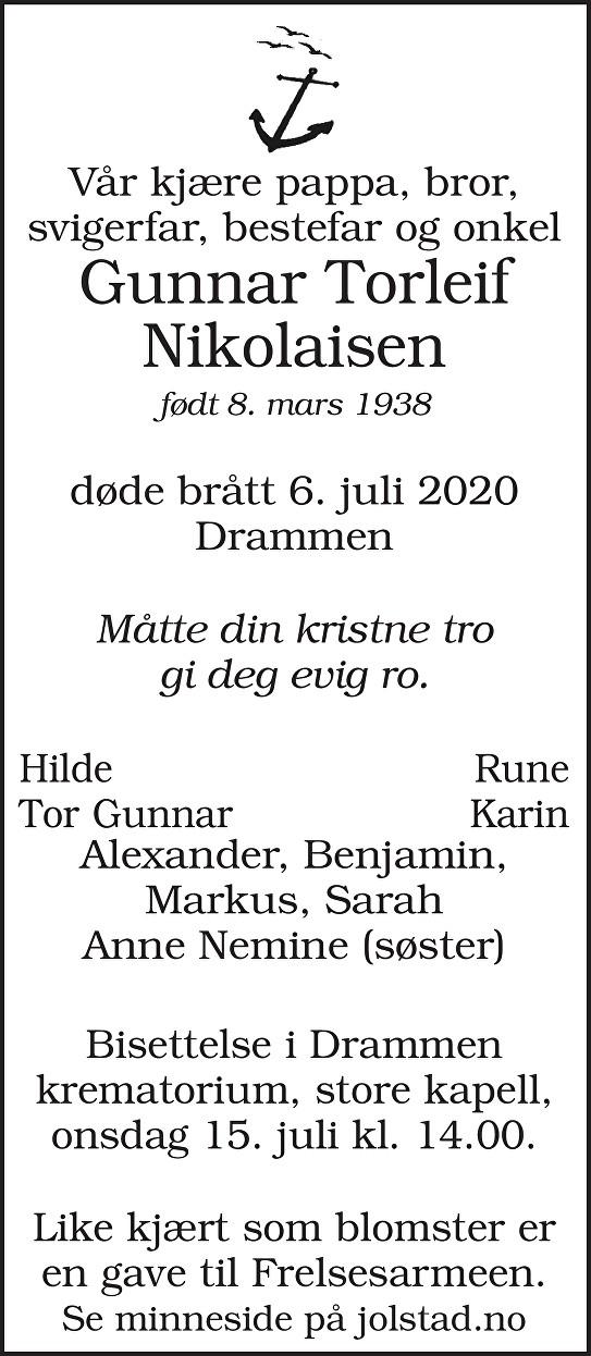 Gunnar Torleif Nikolaisen Dødsannonse
