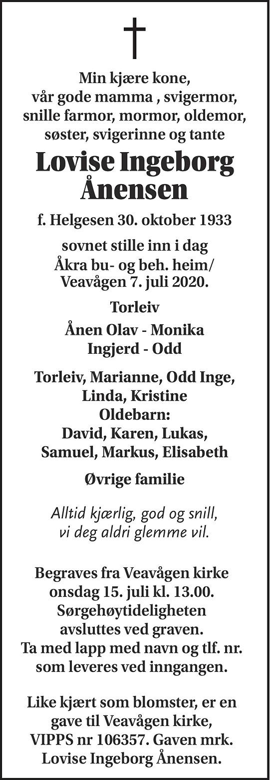 Lovise Ingeborg Ånensen Dødsannonse