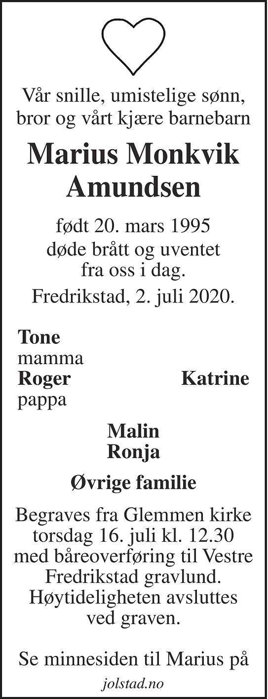 Marius Monkvik  Amundsen Dødsannonse