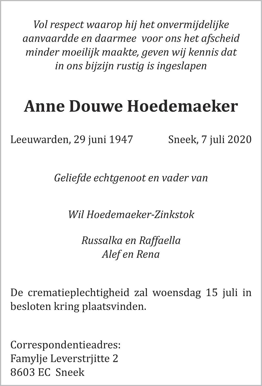 Anne Douwe Hoedemaeker Death notice