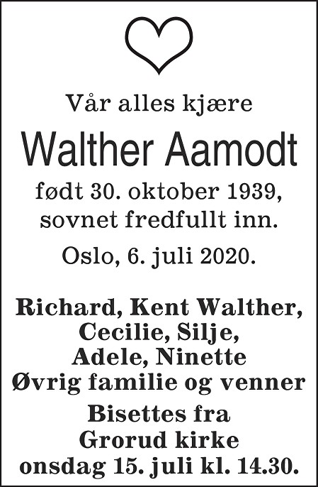 Walther Aamodt Dødsannonse