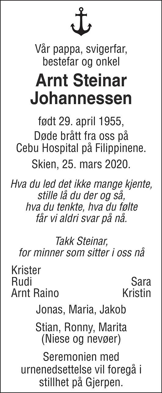 Arnt Steinar Johannessen Dødsannonse