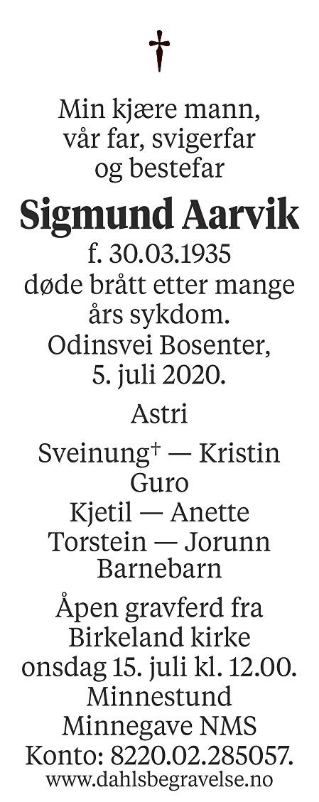 Sigmund Aarvik Dødsannonse