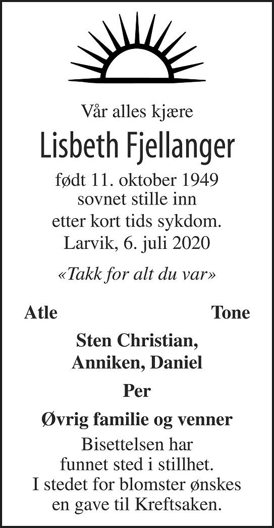 Lisbeth Fjellanger Dødsannonse