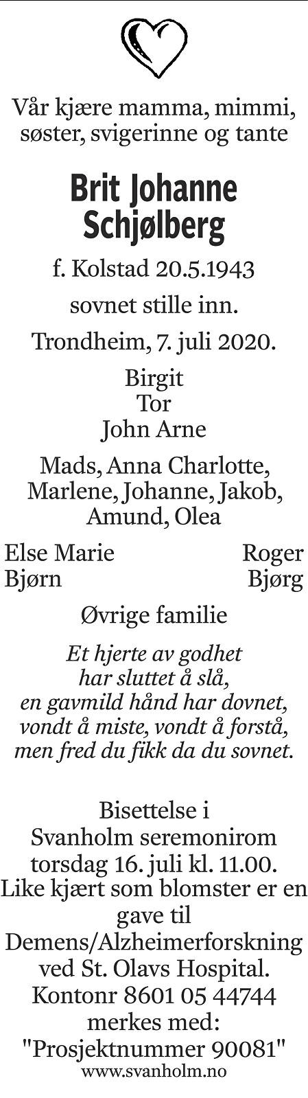 Brit Johanne Schjølberg Dødsannonse