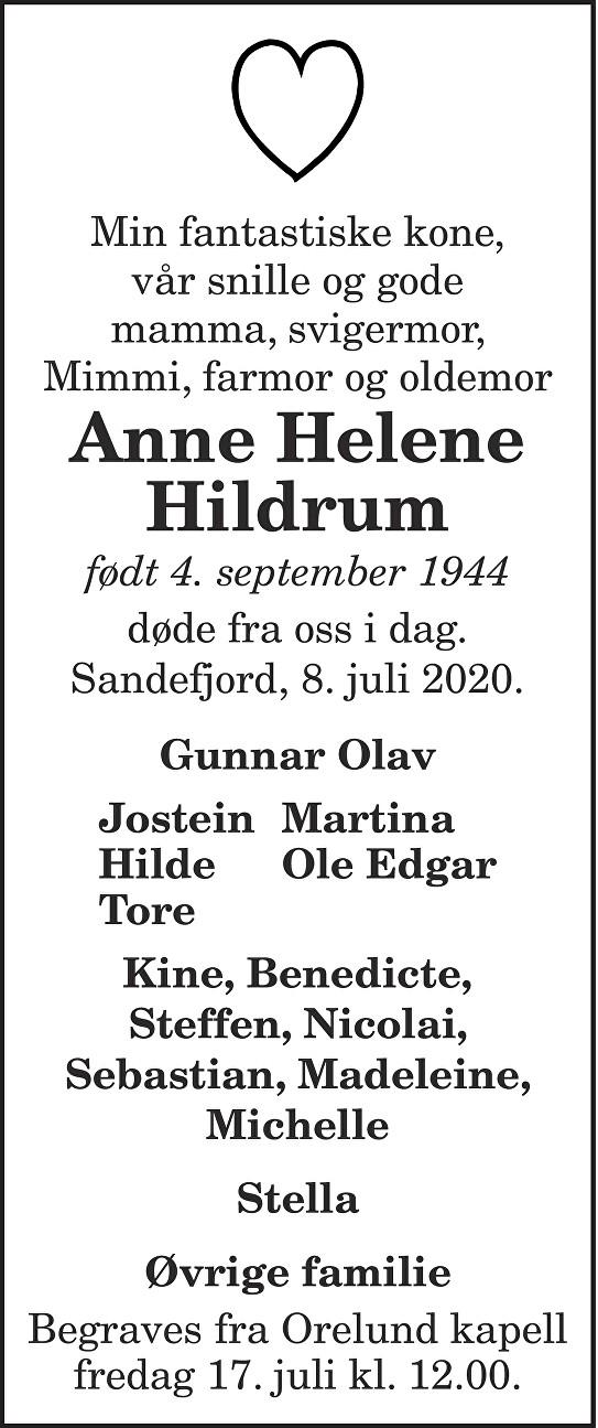 Anne Helene Hildrum Dødsannonse