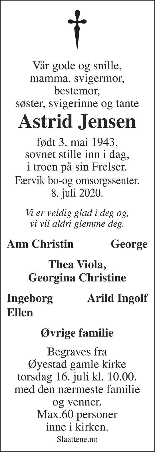 Astrid Jensen Dødsannonse