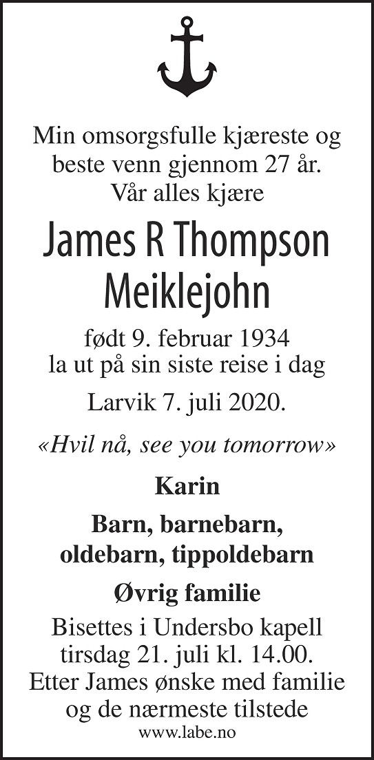 James R Thompson Meiklejohn Dødsannonse