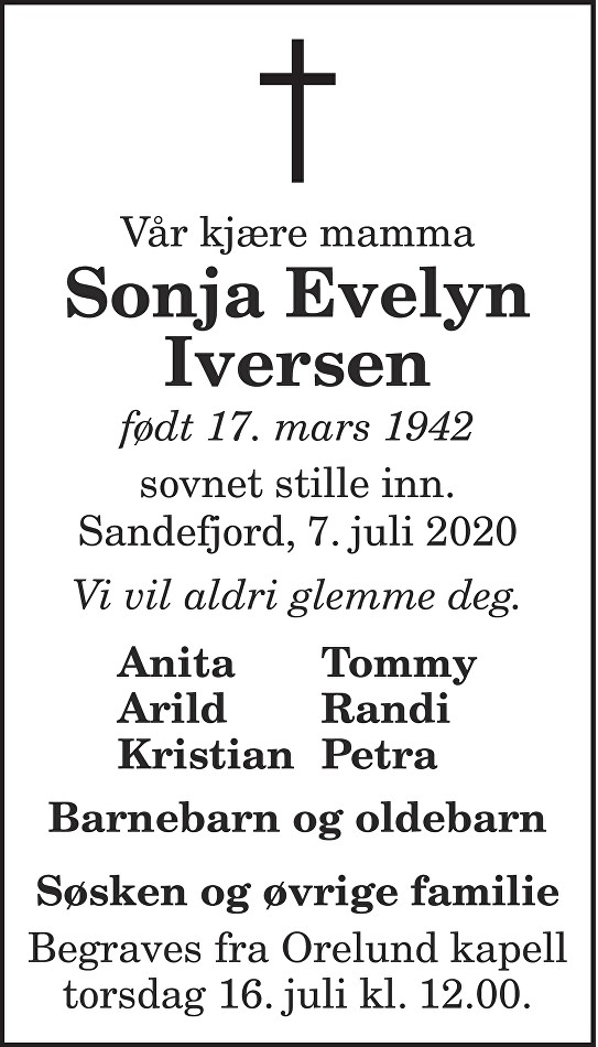 Sonja Evelyn Iversen Dødsannonse