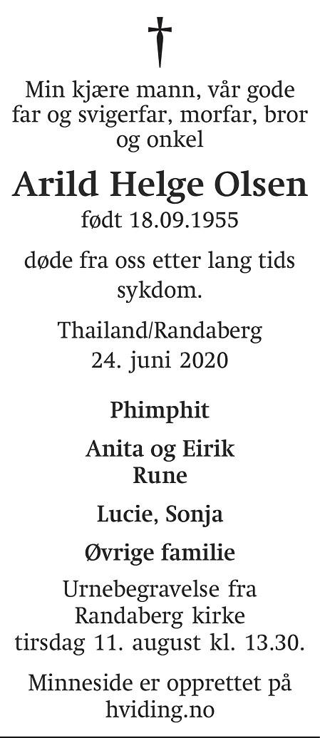 Arild Helge Olsen Dødsannonse
