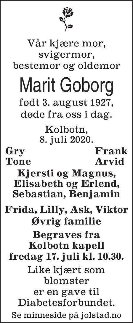 Marit Goborg Dødsannonse