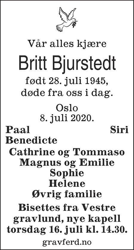 Britt Bjurstedt Dødsannonse