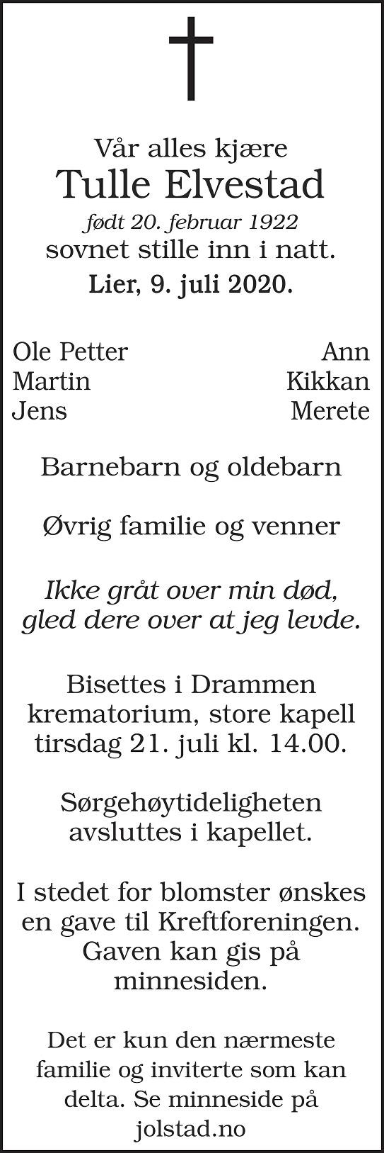 Else Christiane Elvestad Dødsannonse