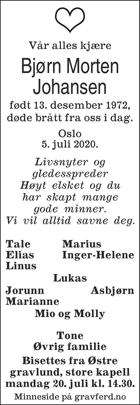 Johansen Bjørn Morten Dødsannonse