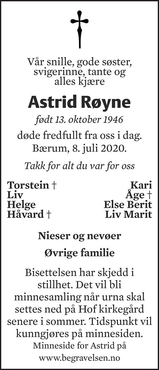 Astrid Røyne Dødsannonse