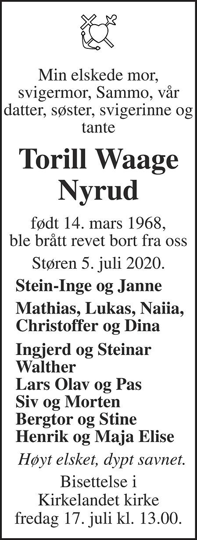 Toril Waage Nyrud Dødsannonse