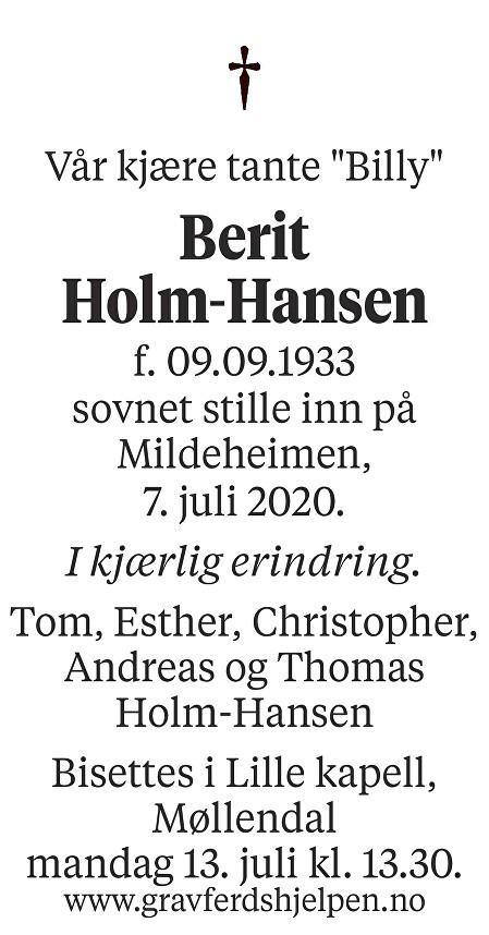 Berit  Holm-Hansen Dødsannonse