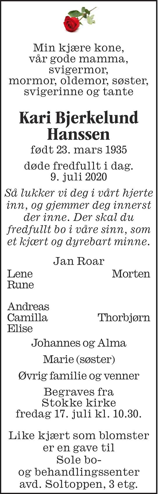 Kari Bjerkelund Hanssen Dødsannonse