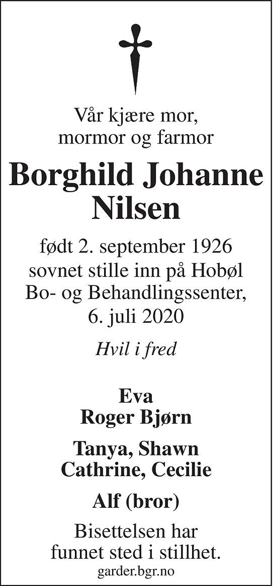 Borghild Johanne Nilsen Dødsannonse
