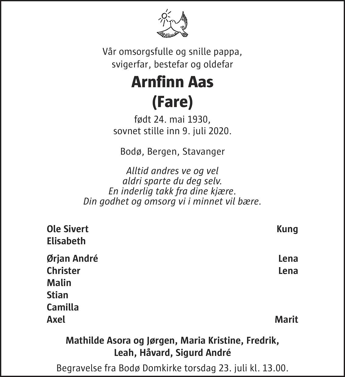 Arnfinn Aas Dødsannonse
