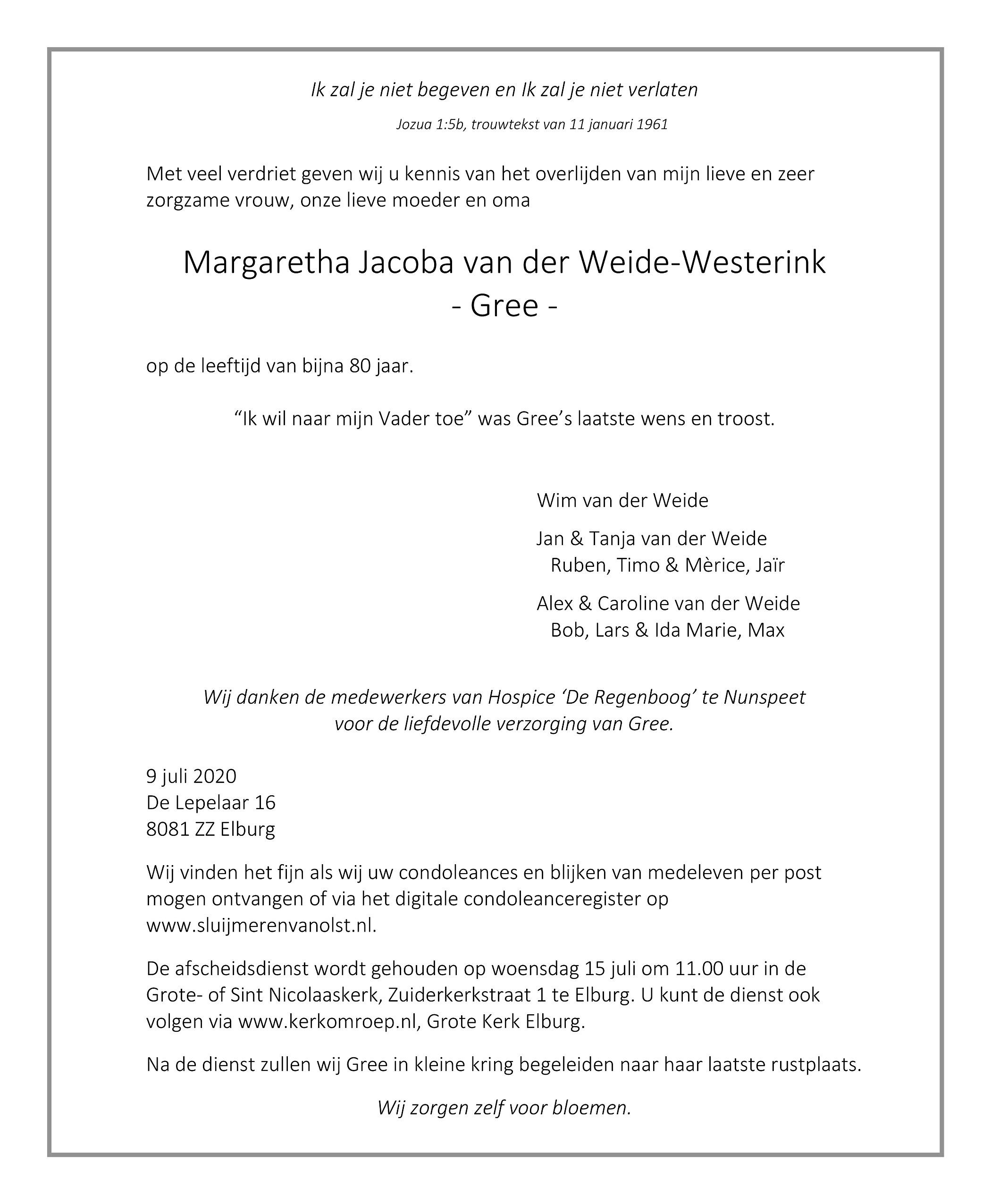 Gree van der Weide-Westerink Death notice