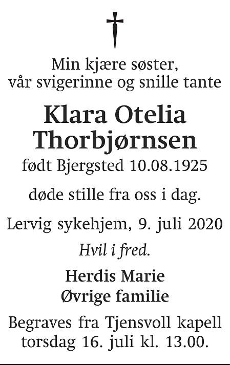 Klara Otelia Thorbjørnsen Dødsannonse
