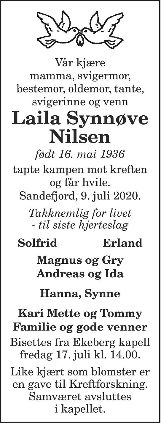 Laila Synnøve Nilsen Dødsannonse