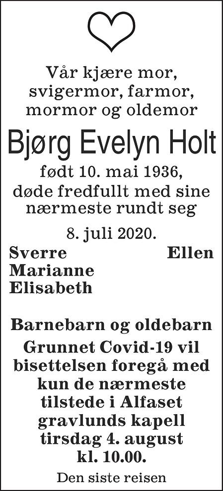 Bjørg Evelyn  Holt Dødsannonse