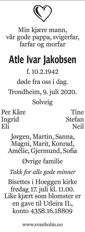 Atle Ivar Jakobsen Dødsannonse