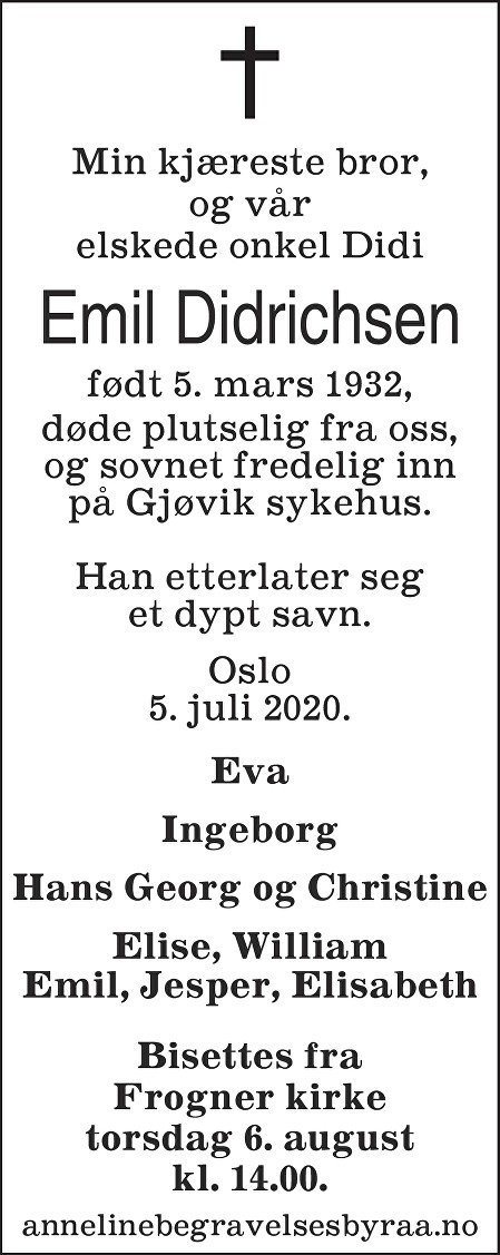 Emil Didrichsen Dødsannonse