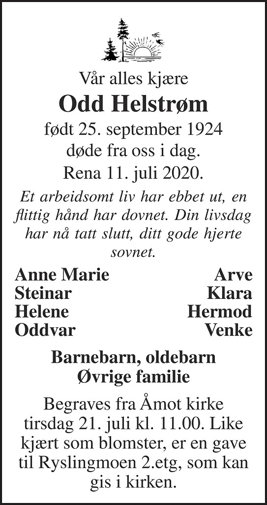 Odd Helstrøm Dødsannonse