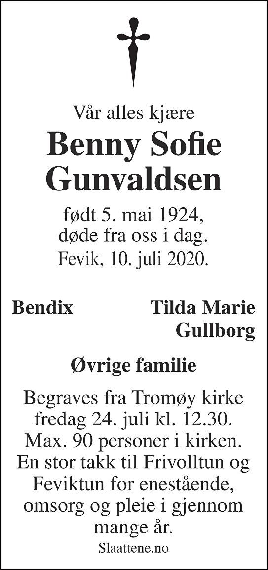 Benny Sofie Gunvaldsen Dødsannonse