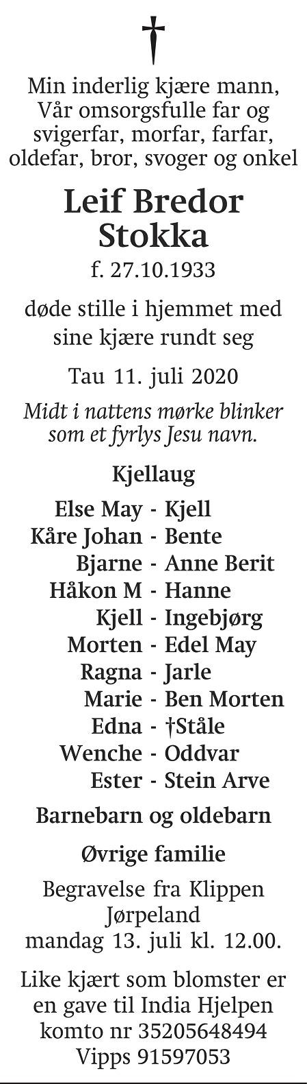 Leif Bredor Stokka Dødsannonse
