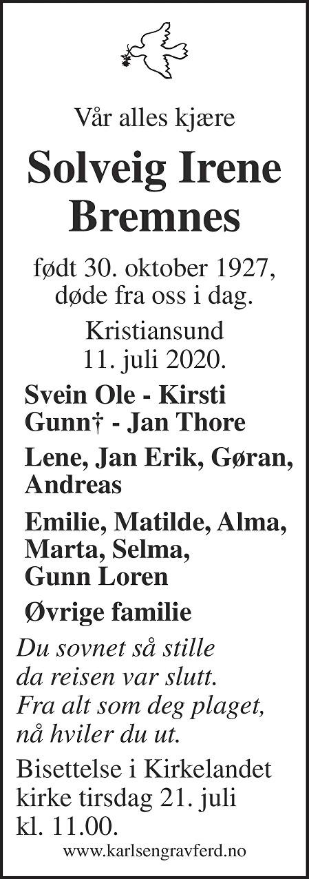 Solveig Irene Bremnes Dødsannonse