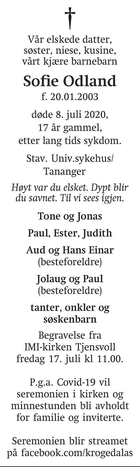 Sofie Odland Dødsannonse