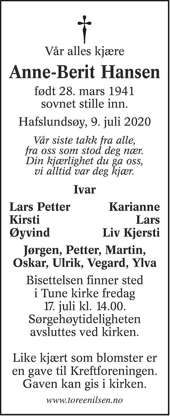Anne-Berit Hansen Dødsannonse