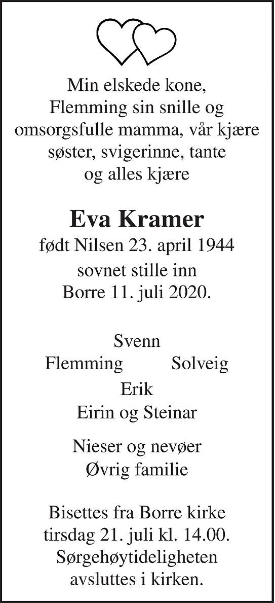 Eva Kramer Dødsannonse