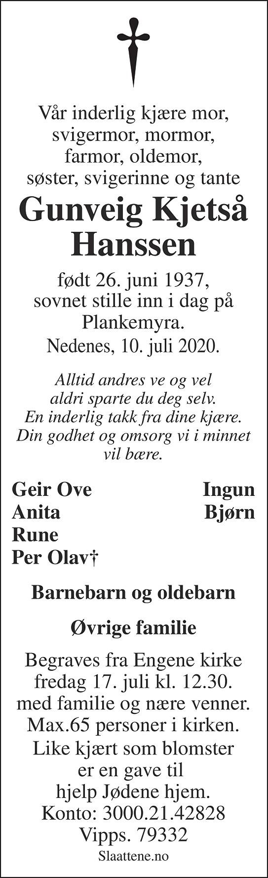 Gunveig Kjetså Hanssen Dødsannonse