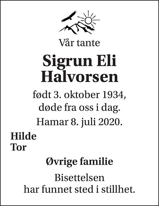 Sigrun Eli Halvorsen Dødsannonse