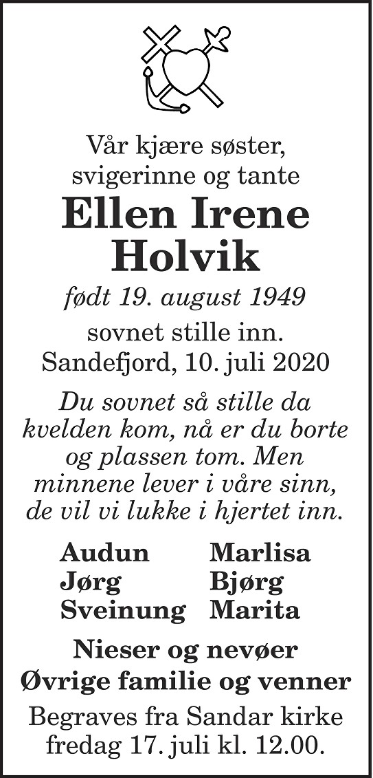 Ellen Irene Holvik Dødsannonse