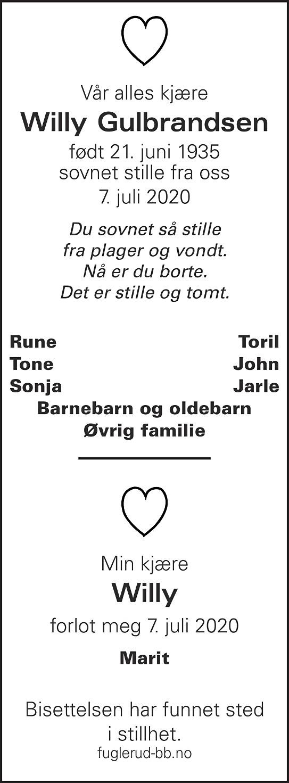 Willy Gulbrandsen Dødsannonse