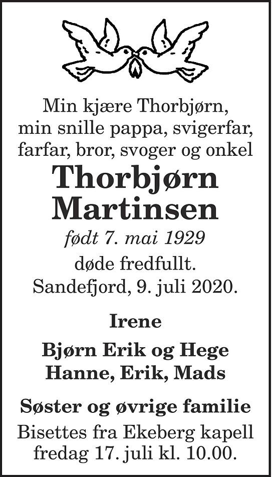 Thorbjørn Martinsen Dødsannonse